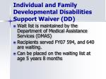 individual and family developmental disabilities support waiver dd