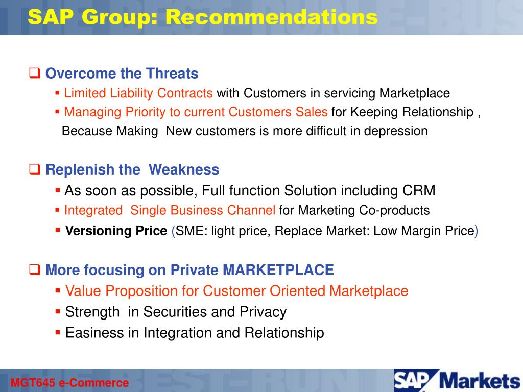 SAP Group: Recommendations