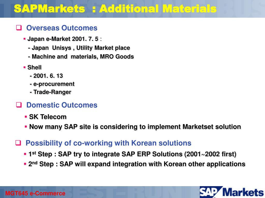 SAPMarkets  : Additional Materials