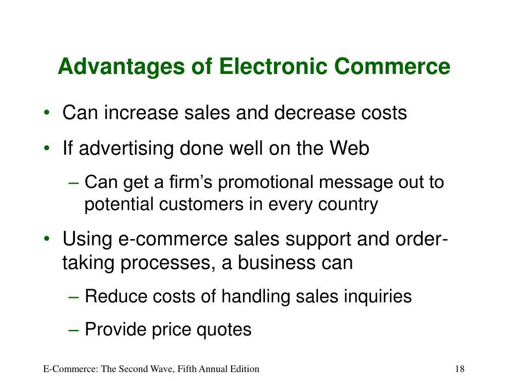 Advantages of Electronic Commerce
