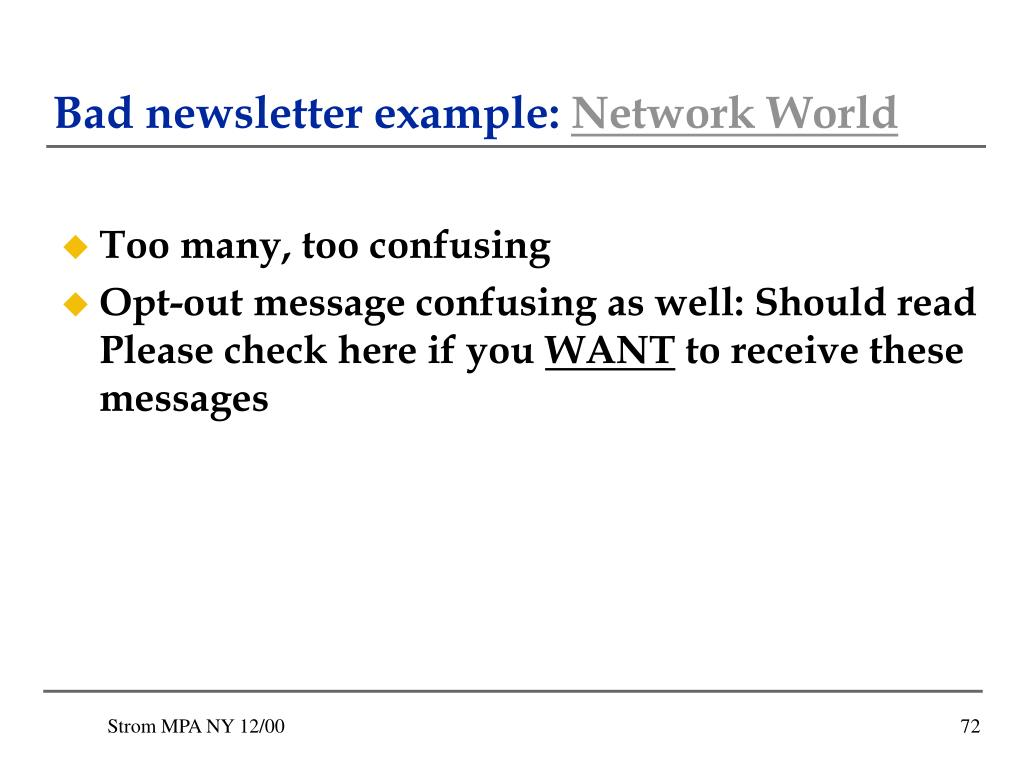 Bad newsletter example: