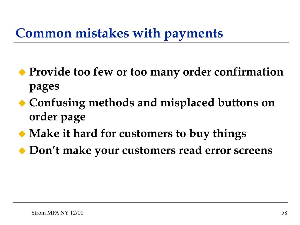 Common mistakes with payments