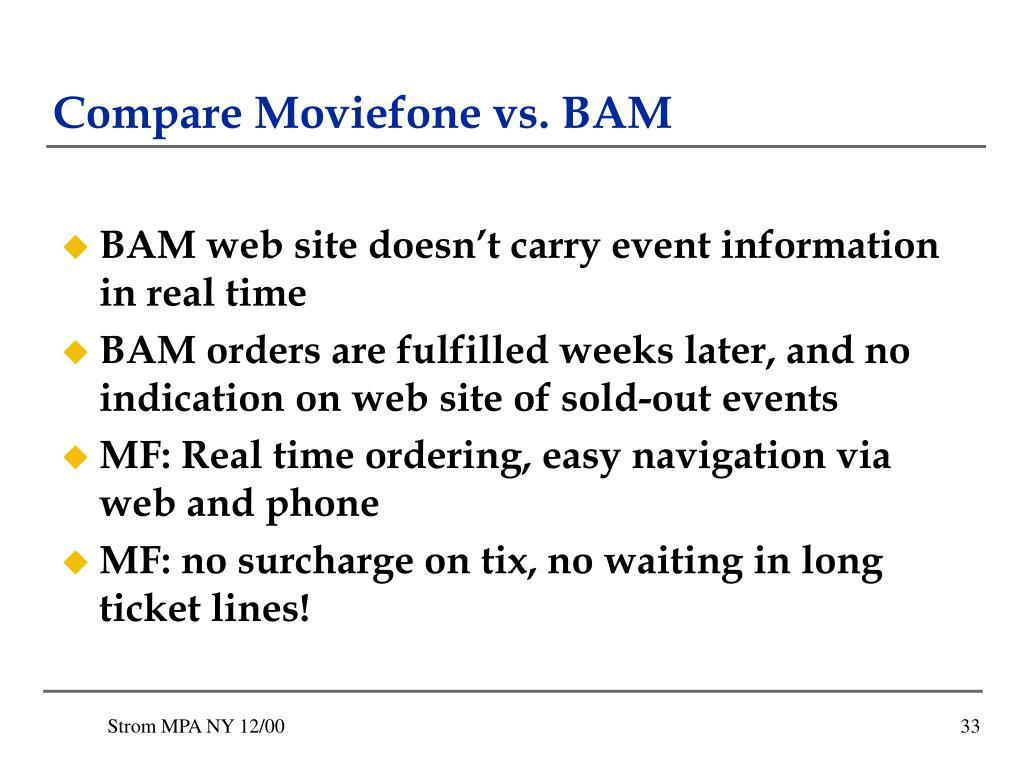 Compare Moviefone vs. BAM