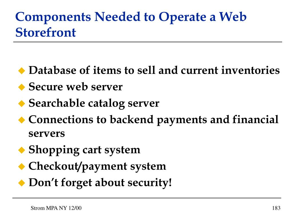 Components Needed to Operate a Web Storefront