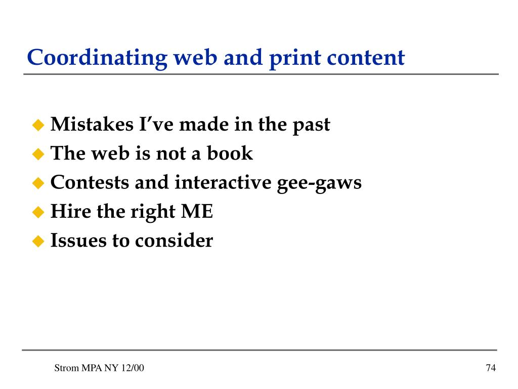 Coordinating web and print content