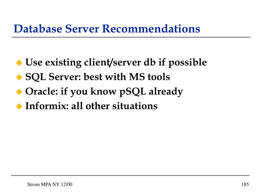 Database Server Recommendations