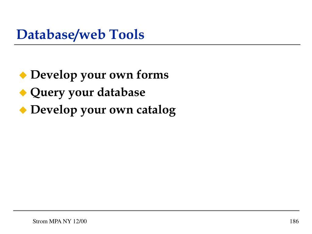 Database/web Tools