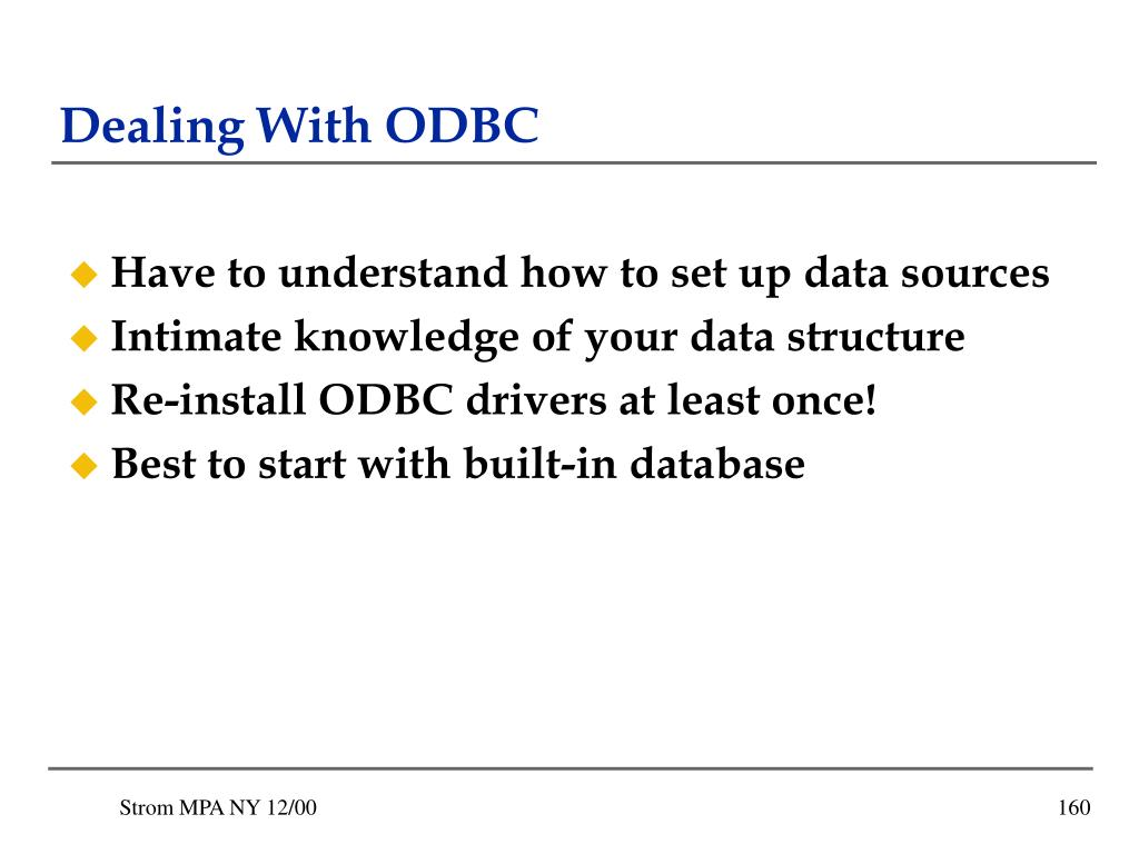 Dealing With ODBC