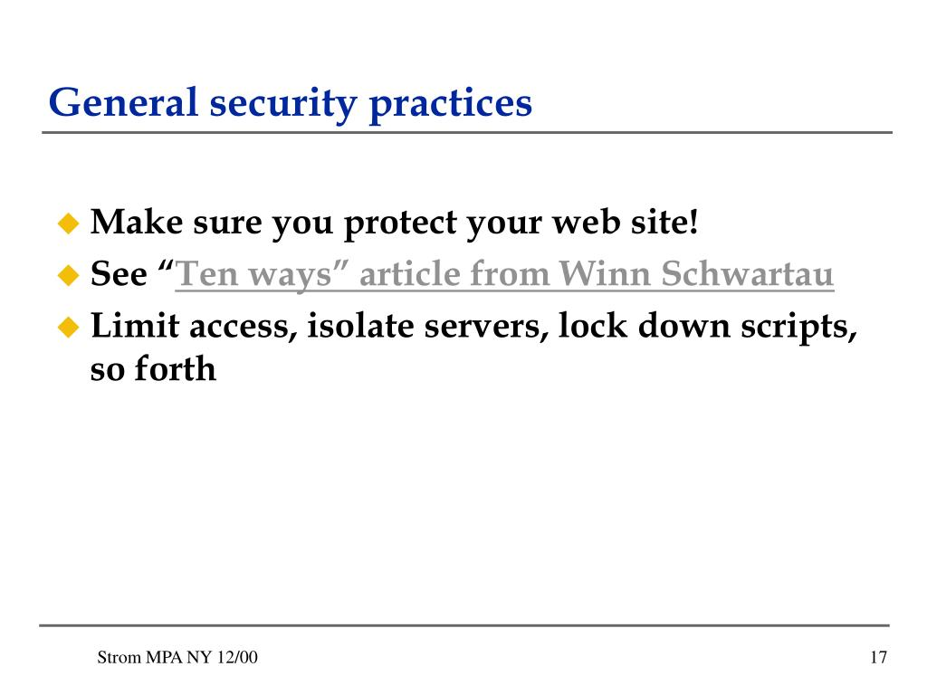 General security practices