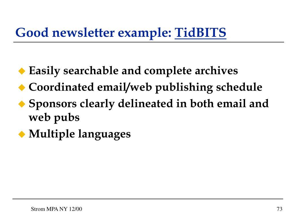 Good newsletter example: