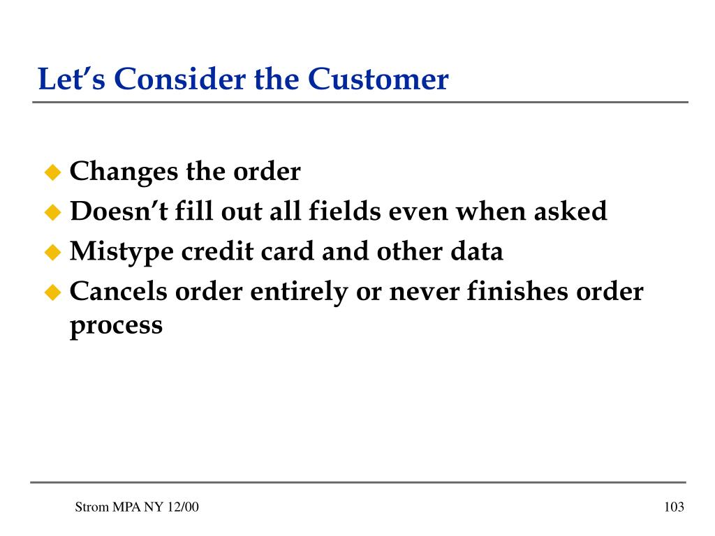 Let's Consider the Customer