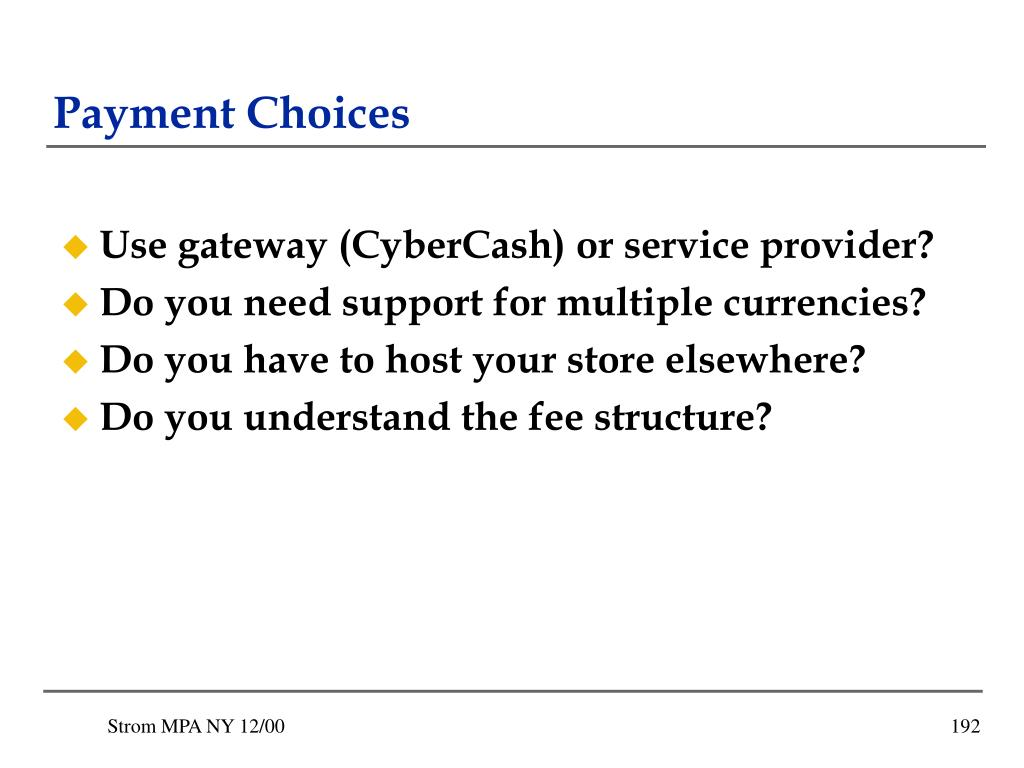 Payment Choices