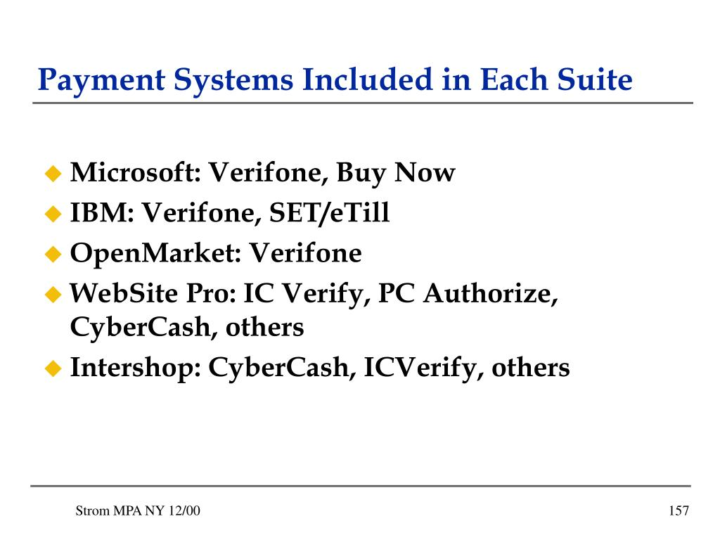 Payment Systems Included in Each Suite