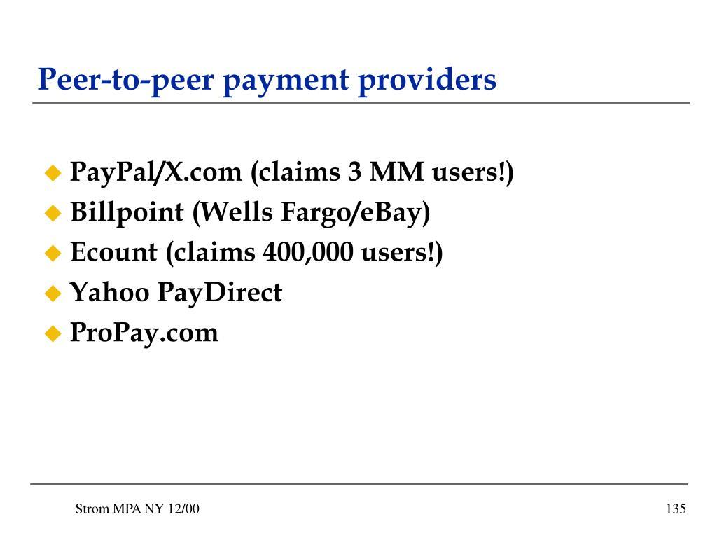 Peer-to-peer payment providers