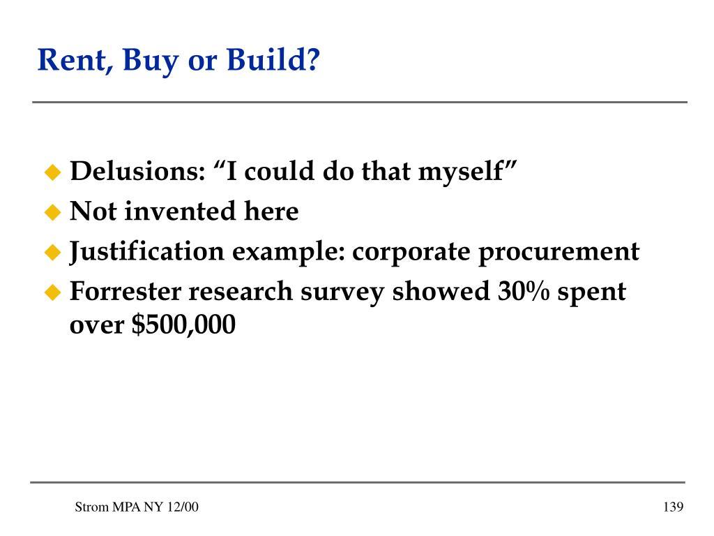 Rent, Buy or Build?