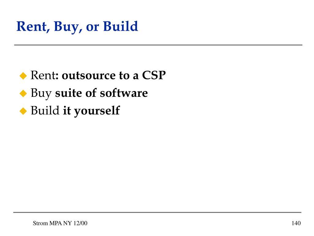Rent, Buy, or Build