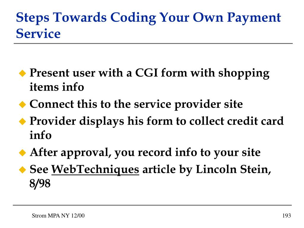 Steps Towards Coding Your Own Payment Service