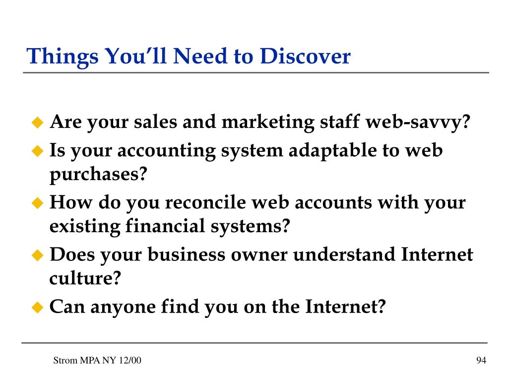 Things You'll Need to Discover