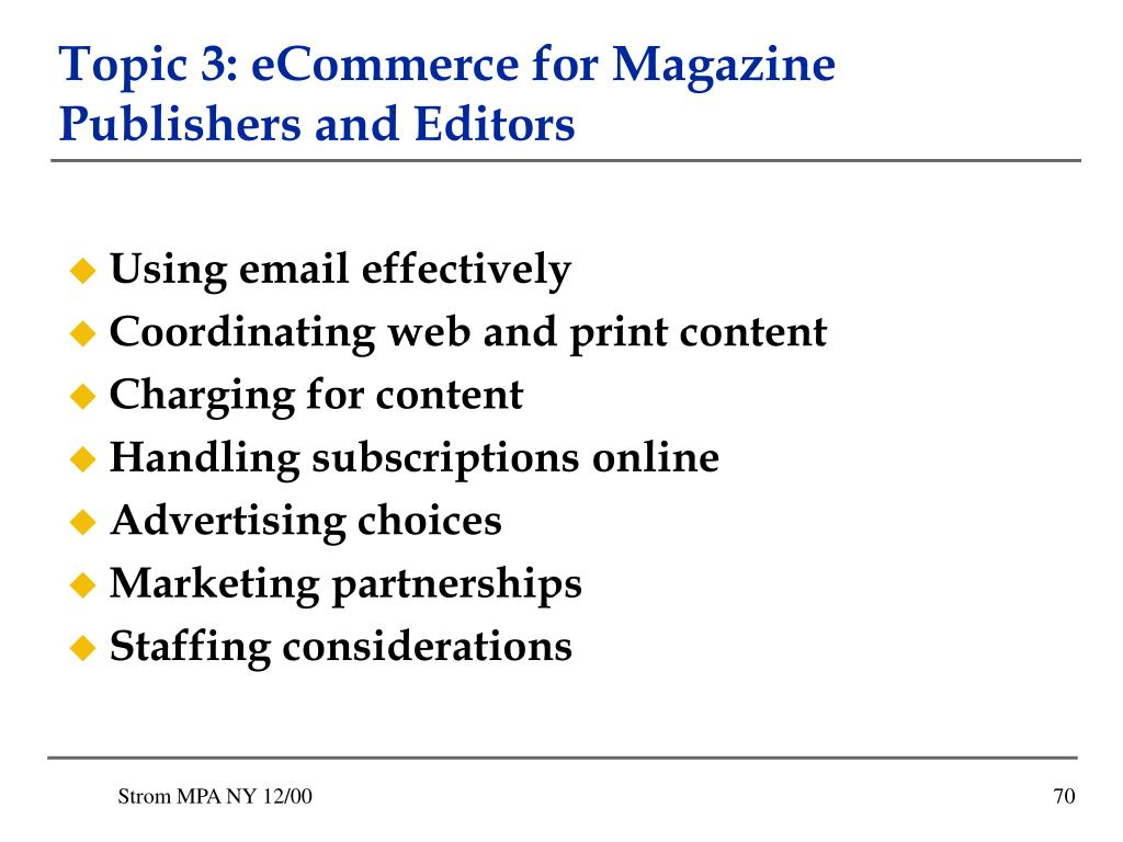 Topic 3: eCommerce for Magazine Publishers and Editors