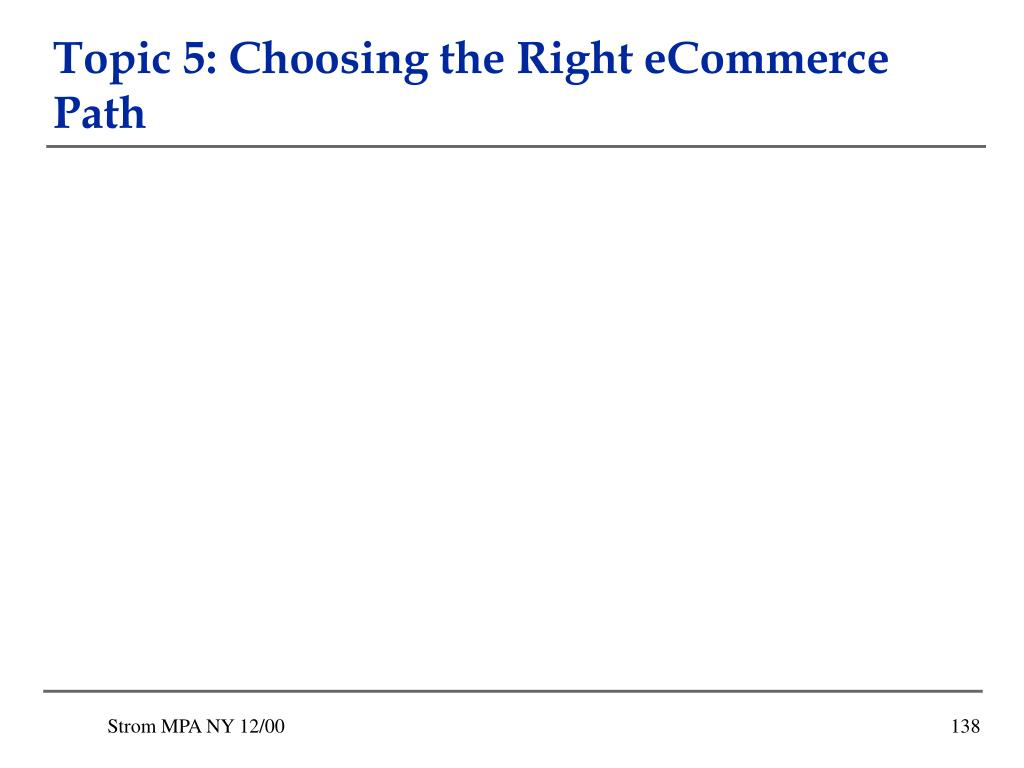 Topic 5: Choosing the Right eCommerce Path