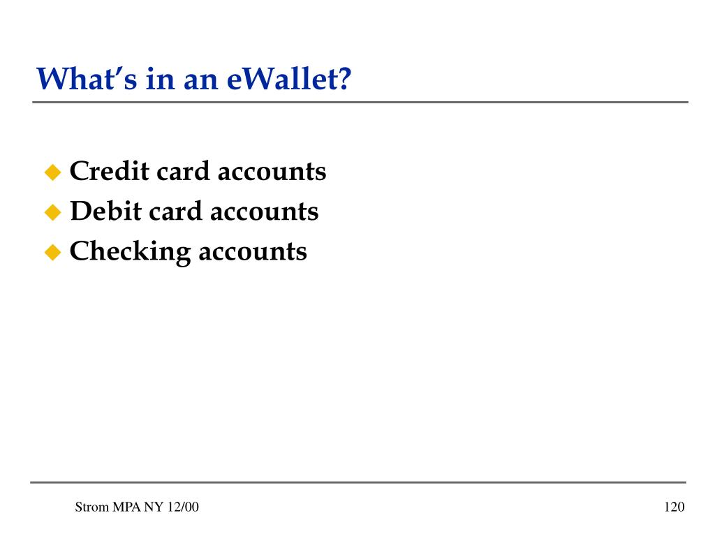 What's in an eWallet?