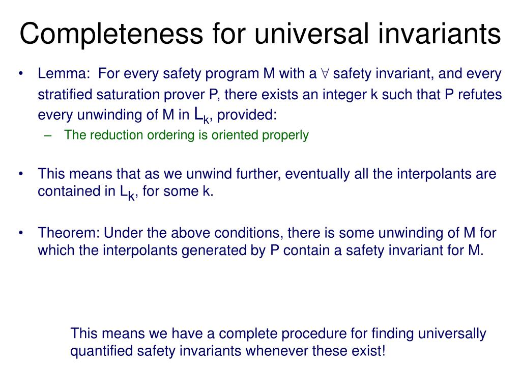Completeness for universal invariants