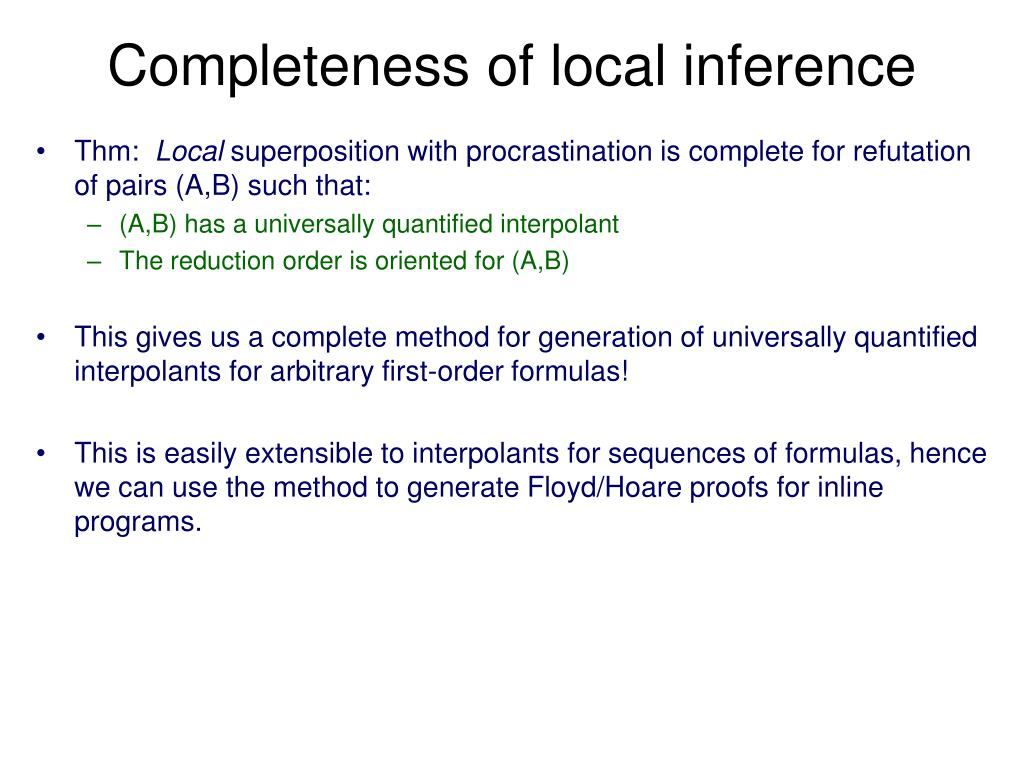 Completeness of local inference