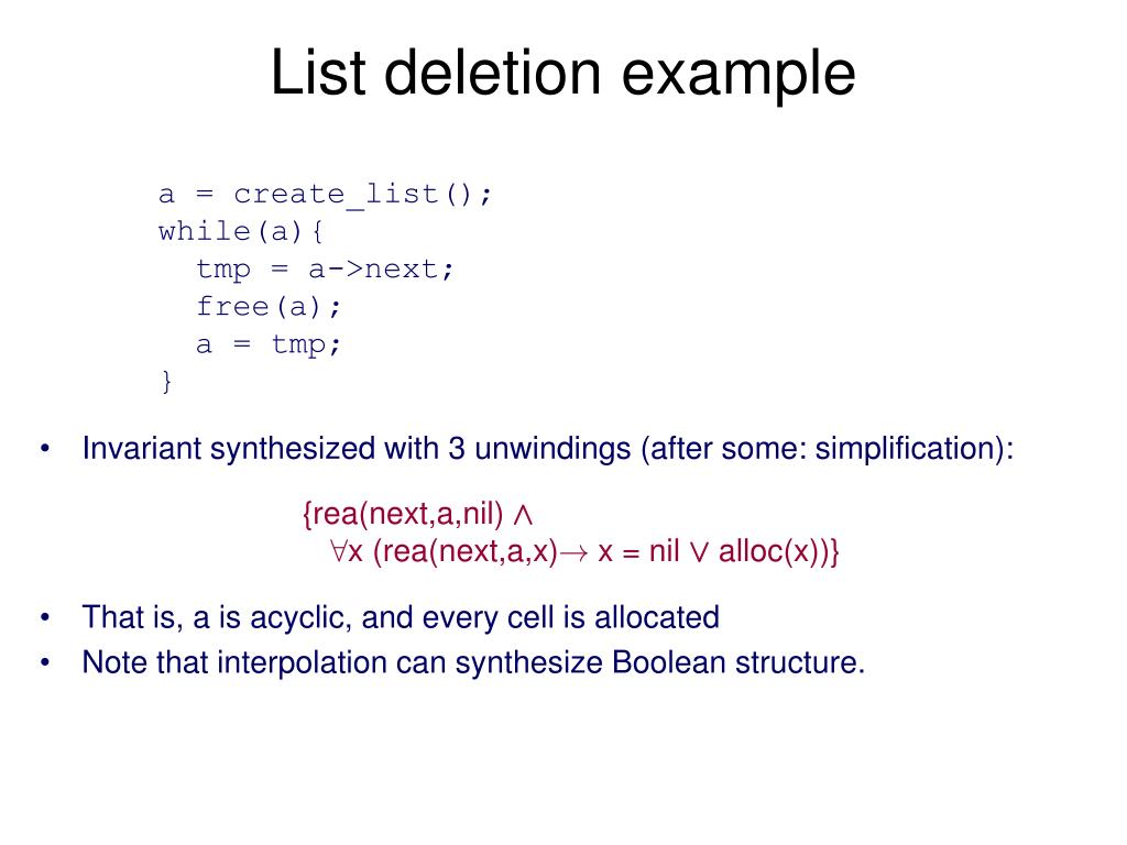 List deletion example