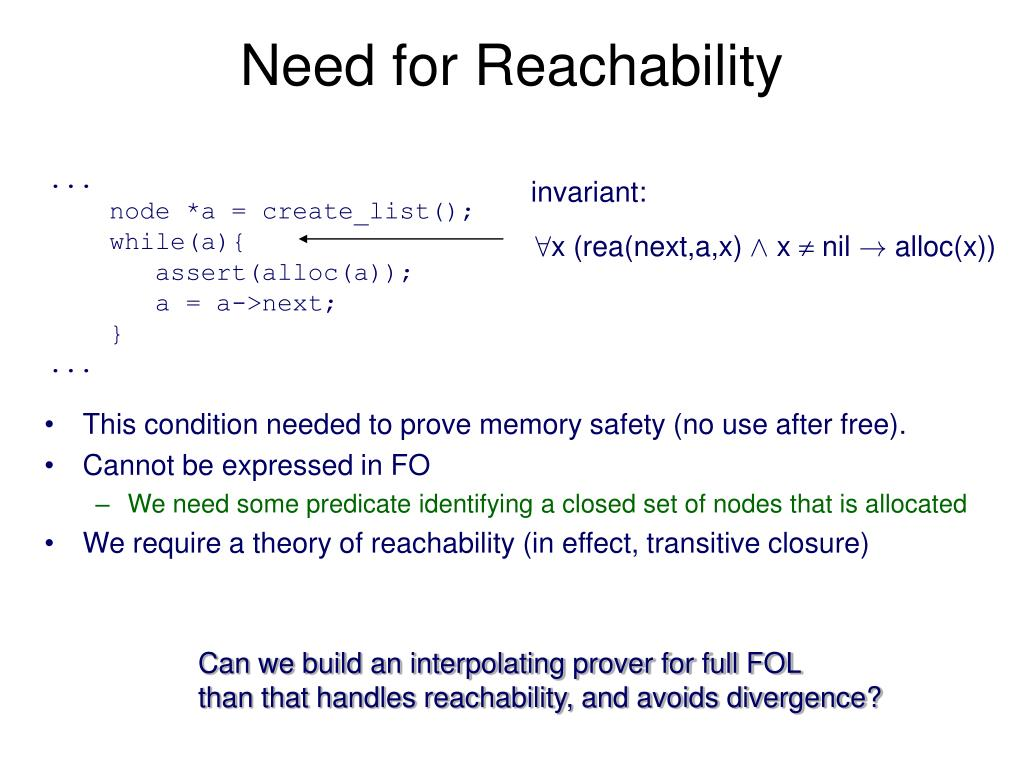 Need for Reachability