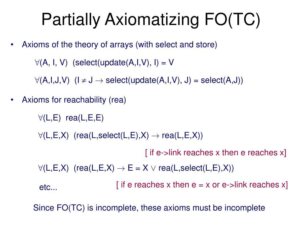 Partially Axiomatizing FO(TC)