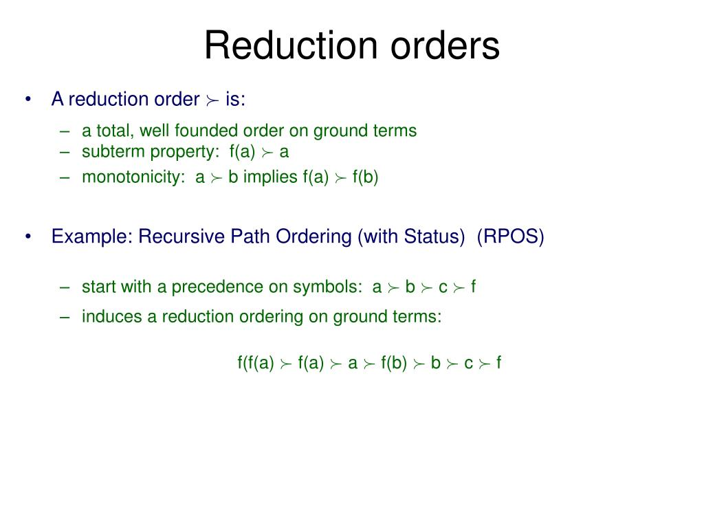 Reduction orders