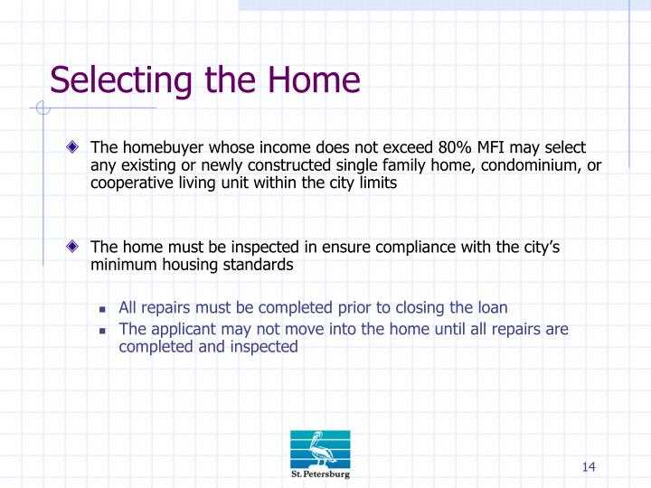 Selecting the Home