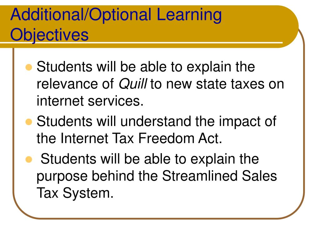 Additional/Optional Learning Objectives