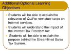 additional optional learning objectives