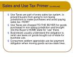 sales and use tax primer continued