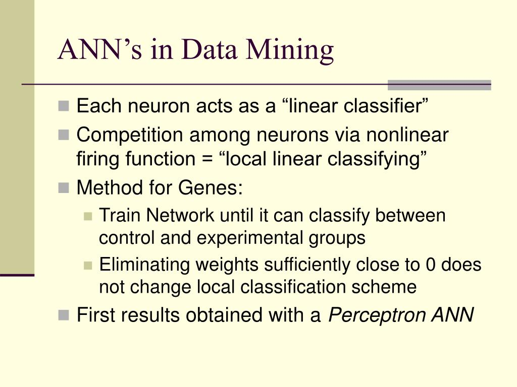 ANN's in Data Mining