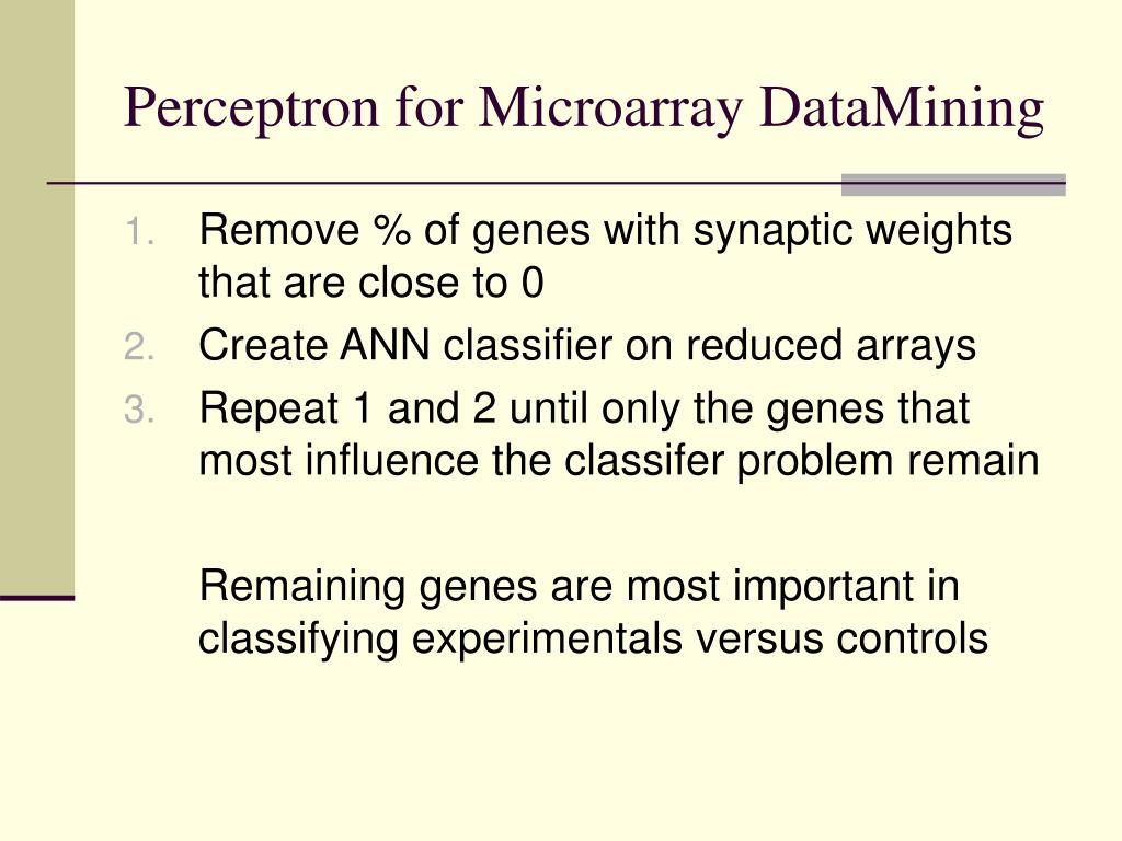 Perceptron for Microarray DataMining
