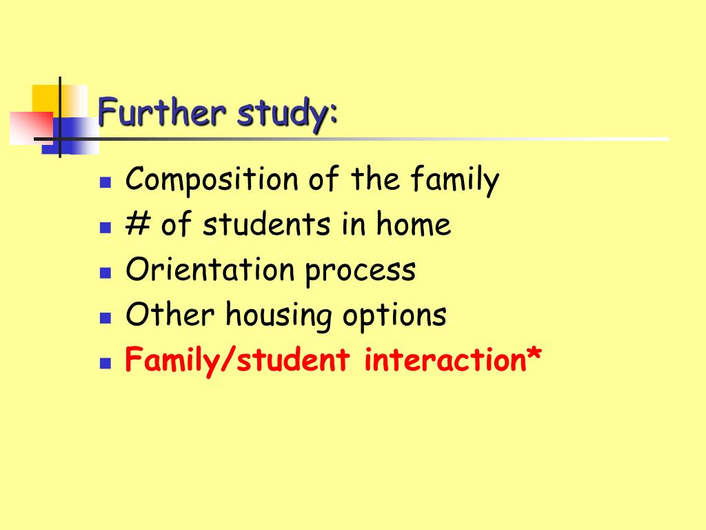 Further study: