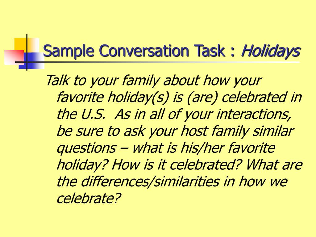 Sample Conversation Task :