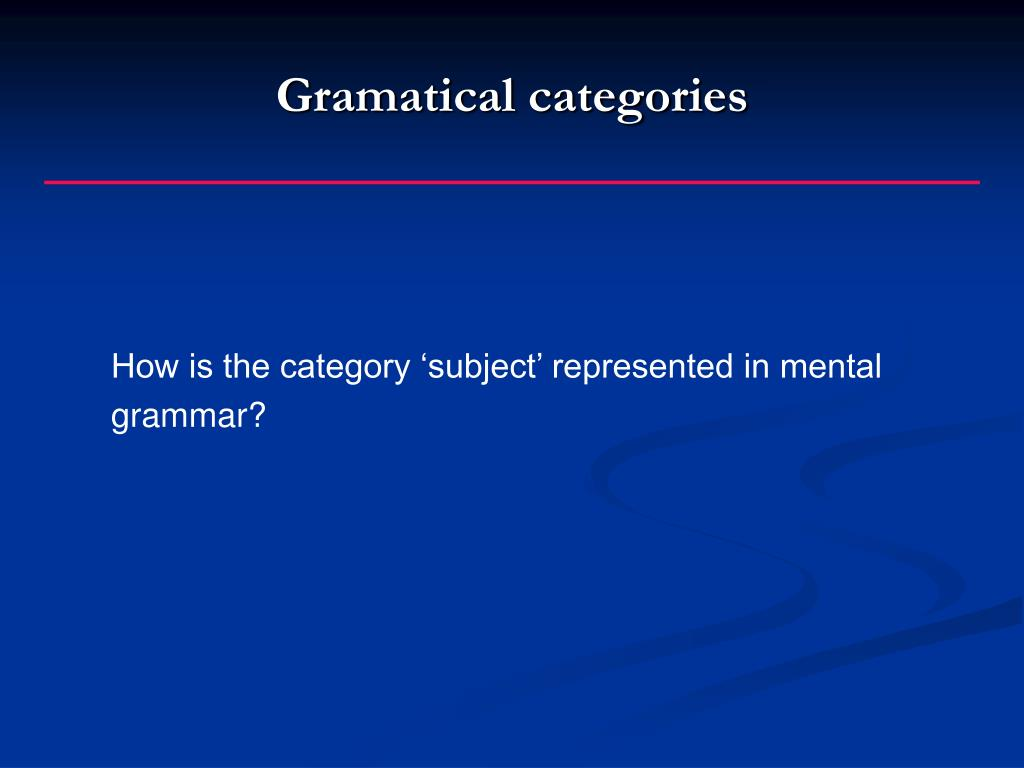 Gramatical categories