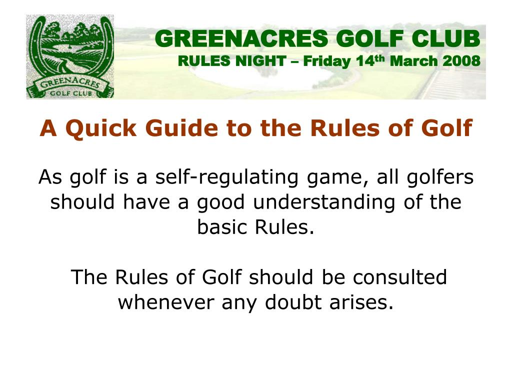 A Quick Guide to the Rules of Golf