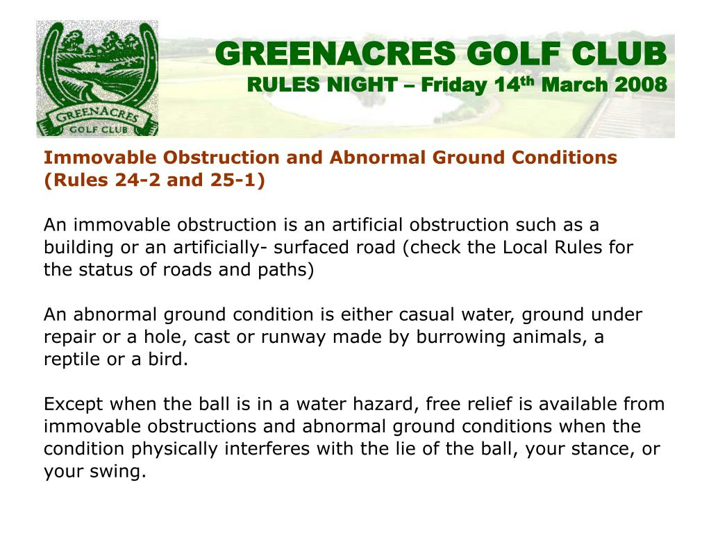 Immovable Obstruction and Abnormal Ground Conditions
