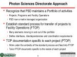 photon sciences directorate approach