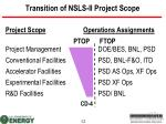 transition of nsls ii project scope
