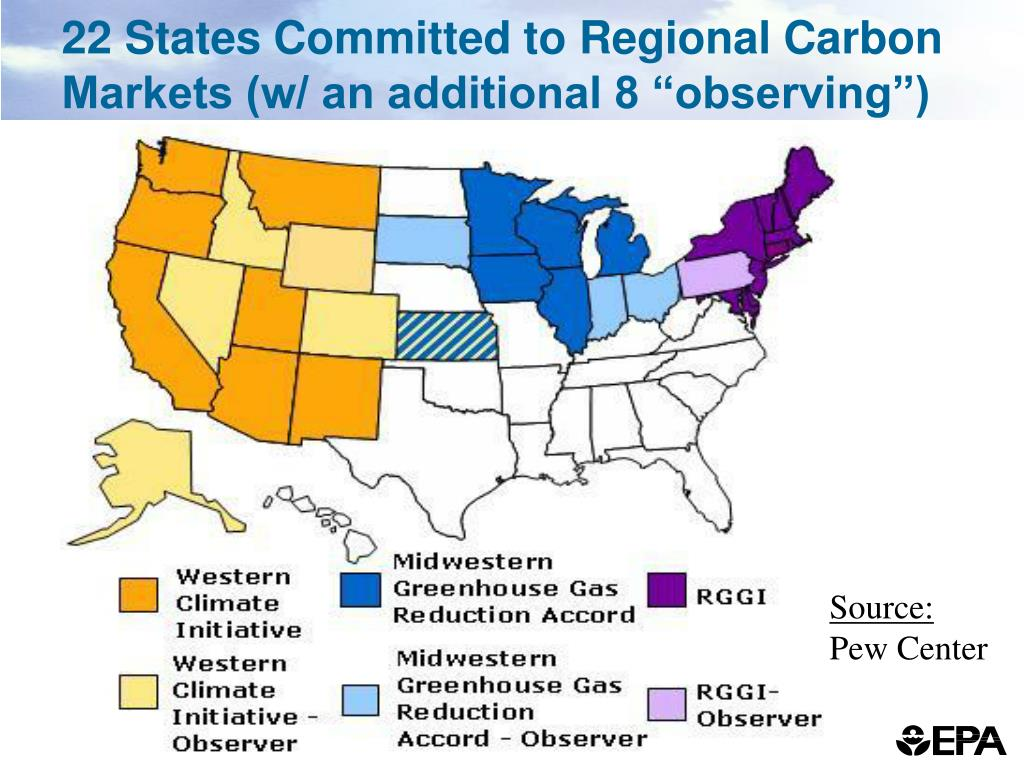 "22 States Committed to Regional Carbon Markets (w/ an additional 8 ""observing"")"