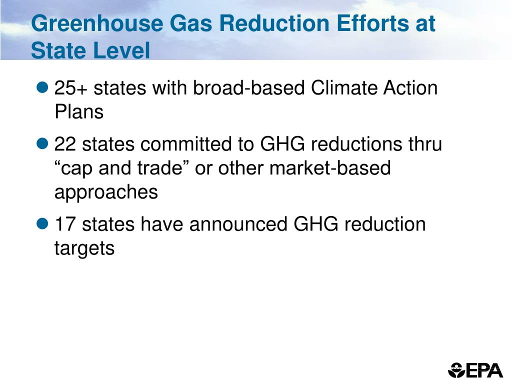 Greenhouse Gas Reduction Efforts at State Level