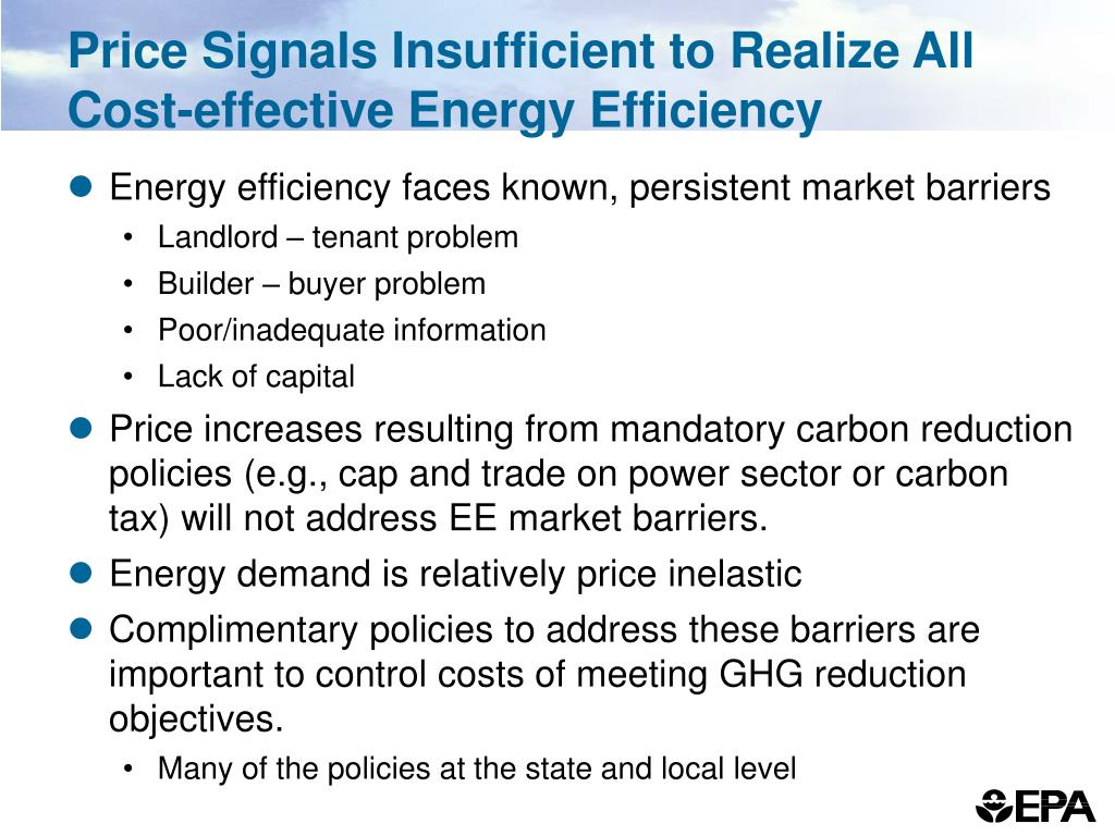 Price Signals Insufficient to Realize All Cost-effective Energy Efficiency