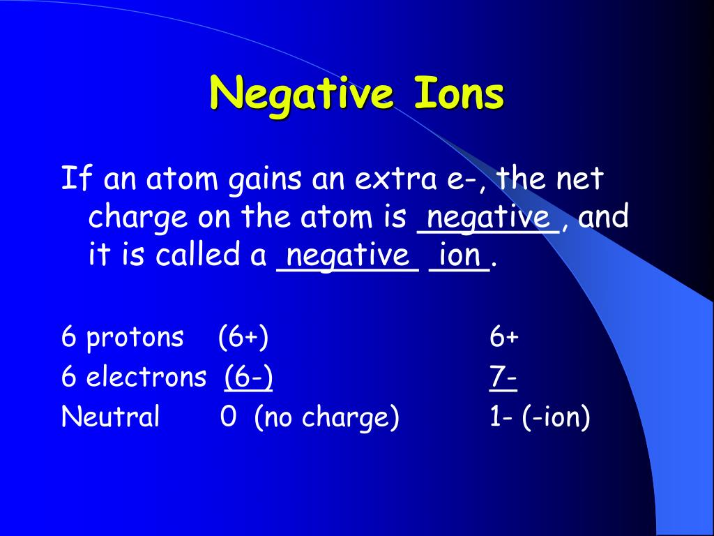 Negative Ions