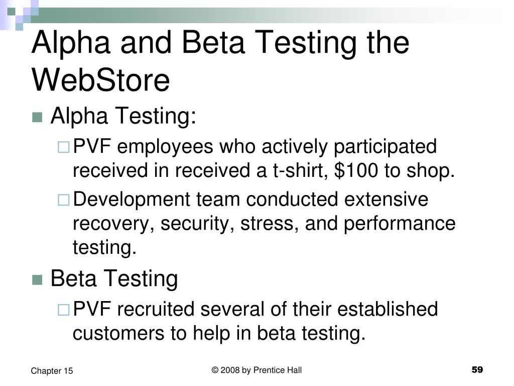 Alpha and Beta Testing the WebStore