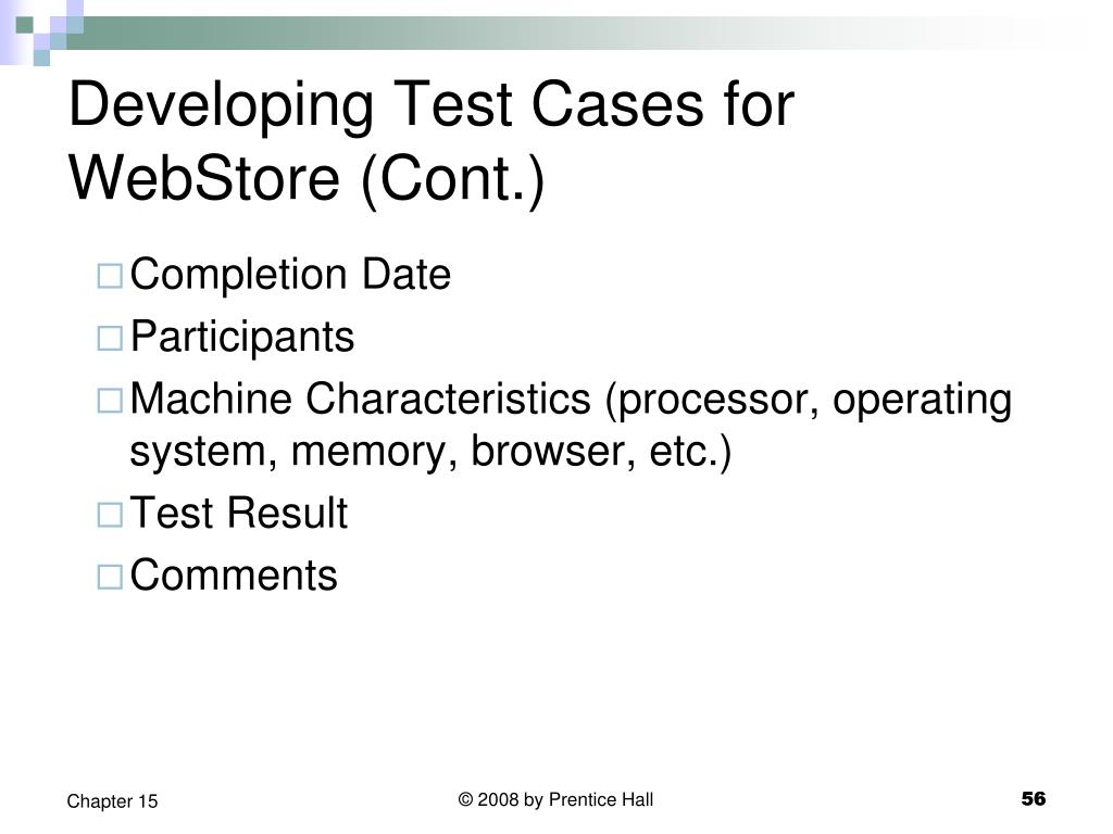 Developing Test Cases for WebStore (Cont.)